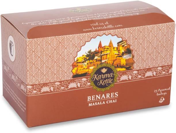 Karma Kettle Benares, Masala Tea, 25 Pyramid Teabags Cinnamon, Cardamom Black Tea Bags Box