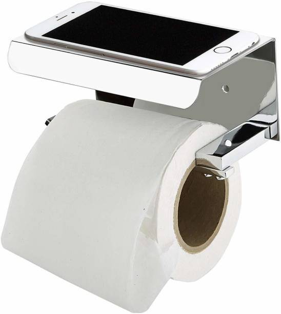 imPULSE Platinum 304 Grade Toilet Paper Holder with Mobile Phone Stand - Bathroom Accessories (Chrome Finish) Stainless Steel Toilet Paper Holder