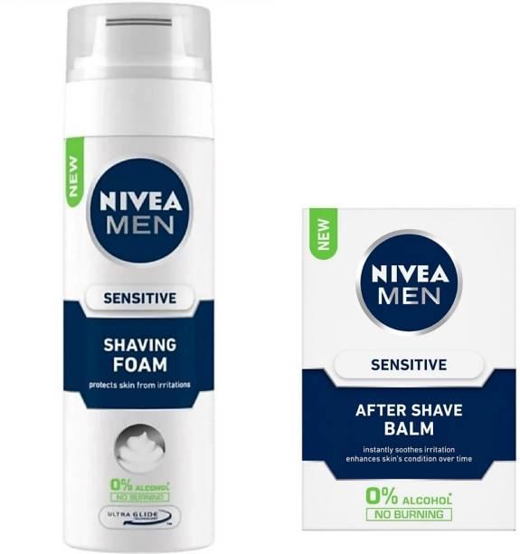 NIVEA Sensitive Shaving Foam (200 ml) & Sensitive After Shave Balm (100 ml)