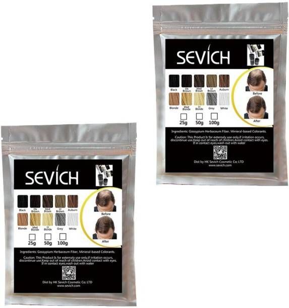 Sevich Black hair fiber 50 g (original) combo of 2 refill pack B07MC7L8ZR Extreme Hair Volumizer Keratin protein hair building fiber
