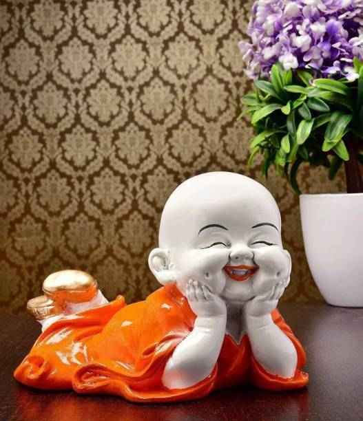 Miss Peach Handcrafted Religious Idols of Meditating Baby Monk laughing Buddha Statue big size For Home Decor|Meditating Monk Buddha Idols|Relaxing Buddha Statues in Religios Idols & Spiritual & Festive Decor|Buddha showpieces|Showpiece for bedroom, gifts & living room|Statues|Showpieces for gift|Showpieces in home Decorative Showpiece  -  12 cm