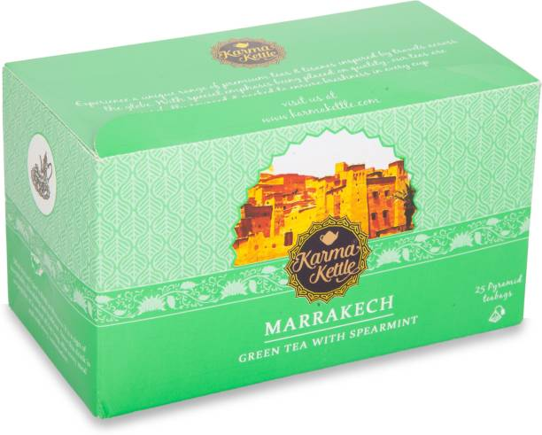 Karma Kettle Marrakech, Moroccan mint Tea, 25 Pyramid Teabags Mint, Peppermint, Lemon Green Tea Bags Box