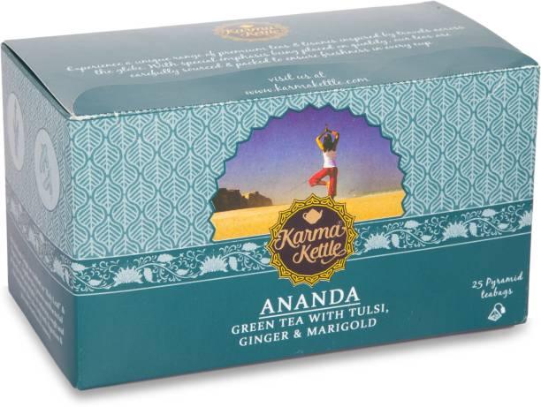 Karma Kettle Ananda, Green Tea with Tulsi, Ginger, and Marigold , 25 Pyramid tea bags Tulsi, Ginger, Marigold Green Tea Bags Box