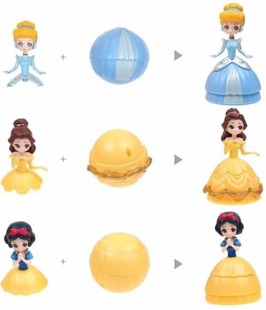 Shanaya Amazing Surprise Ball Transform to Mini Princess Doll Figure Toy for Kids (Multicolor)