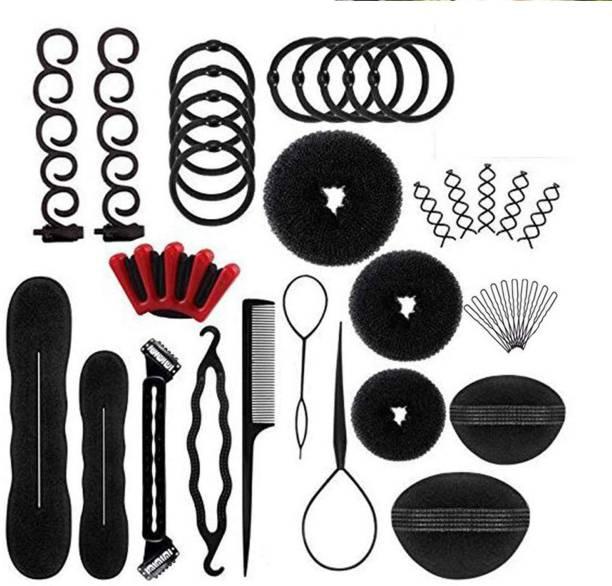 DALUCI 40 Pcs Hair Styling Bun Maker Hair Braid Tool for Making Hair Styles Black Hair Accessory Set