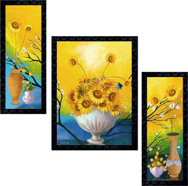 Janki Online Set of 3 Flowers Modern Art Glass Framed Wall Painting For Home Office and Temple and Home Décor Digital Reprint 14 inch x 11 inch Painting