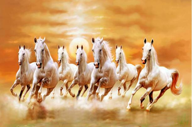 Masstone Vastu Seven Running Horses Sparkle Coated Self Adhesive Wallpaper Without Frame Digital Reprint 24 inch x 36 inch Painting