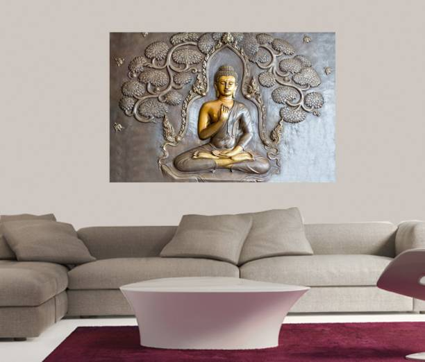 Masstone Gold Buddha Sparkle Coated Self Adhesive Wallpaper Without Frame Digital Reprint 24 inch x 36 inch Painting