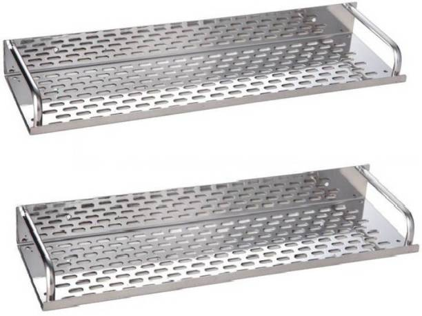 Supreme Bazaar Stainless Steel Shelve Set of 2 pcs (Size :- 16 Inches X 4.5 Inches) Stainless Steel Wall Shelf Pack Of 2 Stainless Steel Wall Shelf