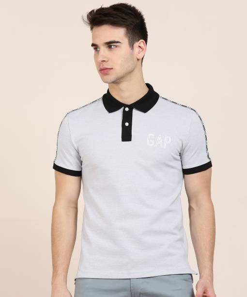GAP Self Design Men Polo Neck Grey T-Shirt