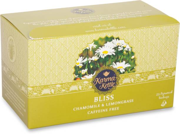 Karma Kettle Bliss, Chamomile & Lemongrass Tea, Caffeine Free, 25 Pyramid tea bags Lemon Grass, Chamomile Herbal Infusion Bags Box