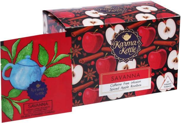 Karma Kettle Savanna- Spiced apple rooibos tea, Caffeine free, 20 Pyramid Tea bags Apple, Spices Rooibos Tea Box