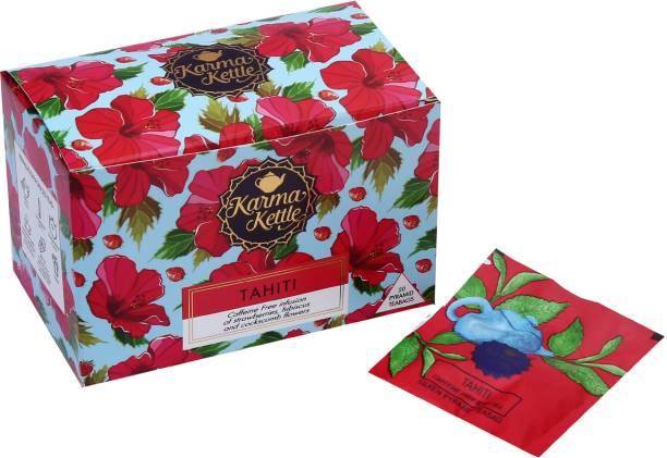 Karma Kettle Tahiti, Tropical Berry Tea, 20 Pyramid Tea bags Strawberry, Hibiscus Herbal Infusion Box