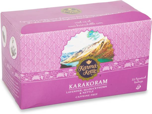 Karma Kettle Karakoram, Lavender, Seabuckthorn & Nettle Tea, Caffeine Free, Pyramid Tea bag Lavender Herbal Infusion Box