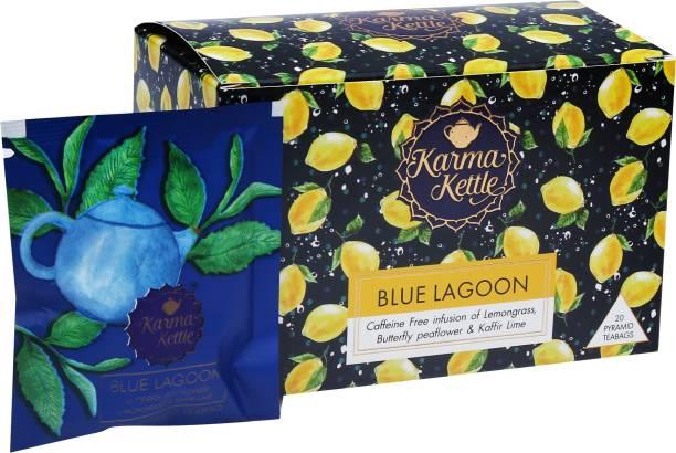 Karma Kettle Blue Lagoon-Lemongrass Tea with butterfly pea flower, 20 Pyramid Tea bag Lemon Grass, Citrus Herbal Infusion Box