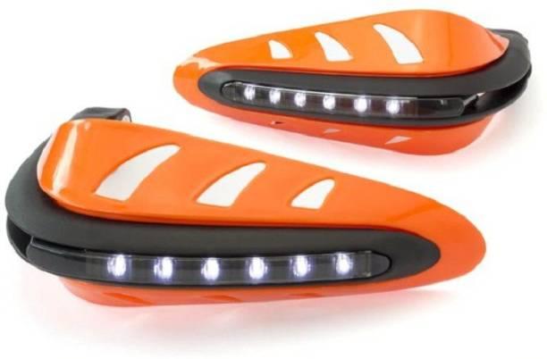PRTEK Motorcycle Handguards with Led Light for 7/8 inch Grips - 300 * 140 * 110mm (Orange) for Bikes universal Handlebar Hand Guard