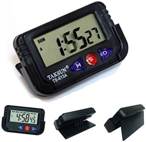 TAKSUN Digital Black  Car Dashboard/Office Desk Alarm Clock and Stopwatch with Flexible Stand Clock