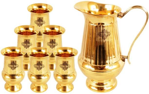 IndianArtVilla Brass Vertical Lining Set of 1 Jug 1100 ML with 6 Glass 250 ML each - Storage Water Home Hotel Restaurant Tableware Decorative Jug Glass Set