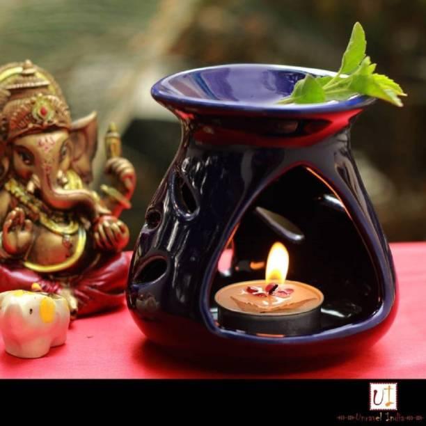 Bright Shop Ceramic Aroma Tealight Diffuser/Oil Burner Pot Flower Design (Blue) With 10 ML Lemongrass Fragrance Oil & 2 Candle (Pack Of 4) Diffuser Set