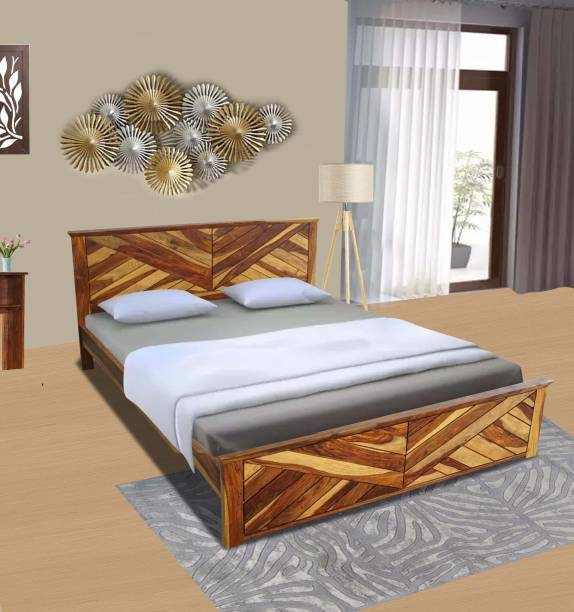 FURNITURE MIND Sheesham Wood Solid Wood Queen Bed