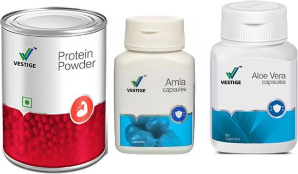 Vestige Aloe Vera Capsules , Amla 60 Capsules and protein powder 200g