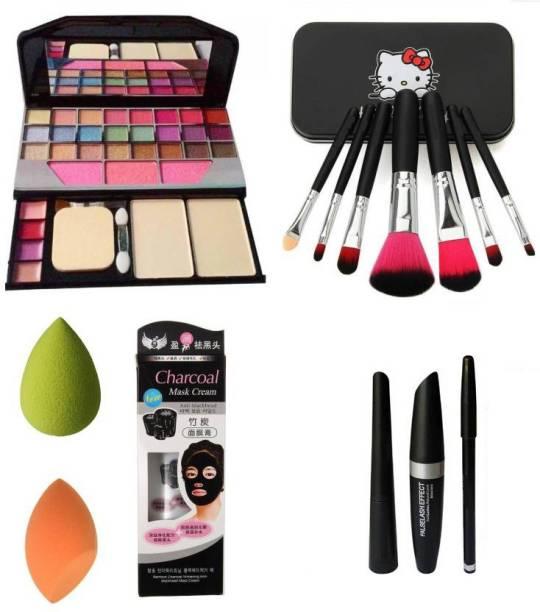 Ladymode Makeup Kit tya & 3in1 & Kitty Brush Set & Charcoal Blackhead Mask & 2 Puff Sponges