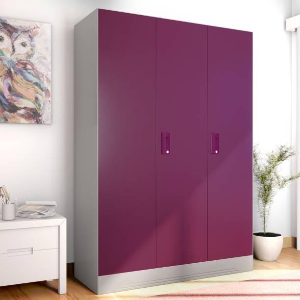 GODREJ INTERIO Slimline 3 Door With Locker Metal Almirah Finish Color   Textured Purple