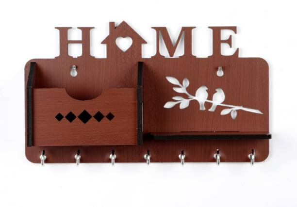Sehaz Artworks Home-Side-Shelf-Brown-KeyHolder Wood Key Holder