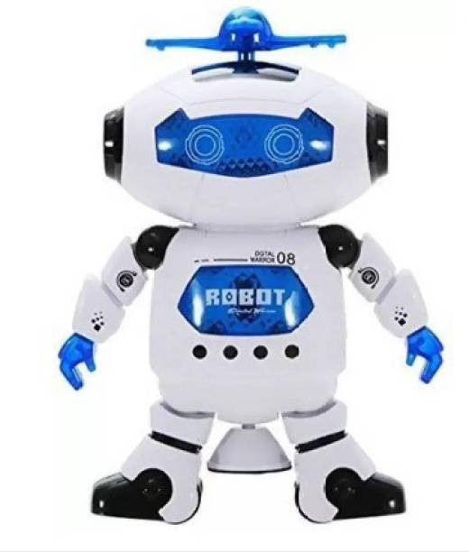 VRIDHI CREATiONS Singing Dancing Naughty Robot with Lights (Multicolor) (Blue, White)