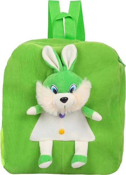 3G Collections Green Rabbit Soft Toy Bag, Plush Bag, Teddy Bag School Bag