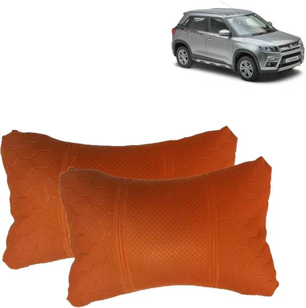VOCADO Orange Leatherite Car Pillow Cushion for Maruti Suzuki