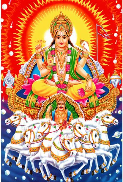 Poster N frame God Surya Dev UV Textured Decorative Art Print Premium Quality Wall Poster un framed (Rolled) Paper Print