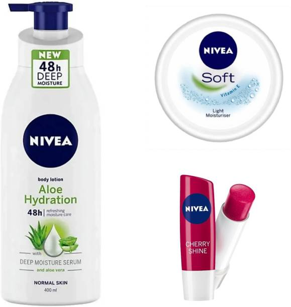 NIVEA Body Aloe Hydration Lotion Cherry Shine Lip Balm & Soft Light Moisturizer.