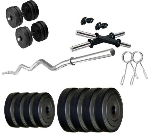 Star X PVC Weight Plates with Dumbbell Rods and 3 ft Curl Bar Adjustable Dumbbell