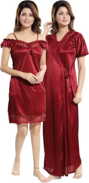 Lovira Women Nighty with Robe