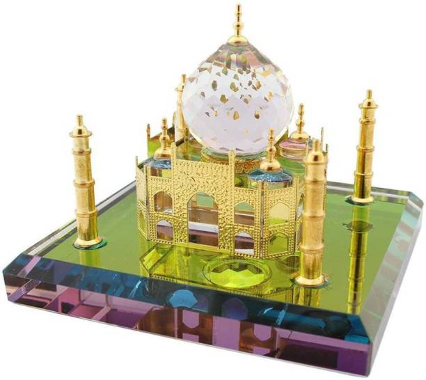 Tanishka Creations Crystal Taj Mahal Decorative Miniature for Home and Office Decorative Showpiece  -  8 cm