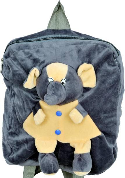 3G Collections Grey Elephant Soft Toy Bag, Plush Bag, Teddy Bag School Bag