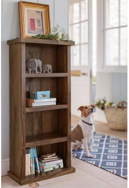 FURINNO Solid Wood Semi-Open Book Shelf