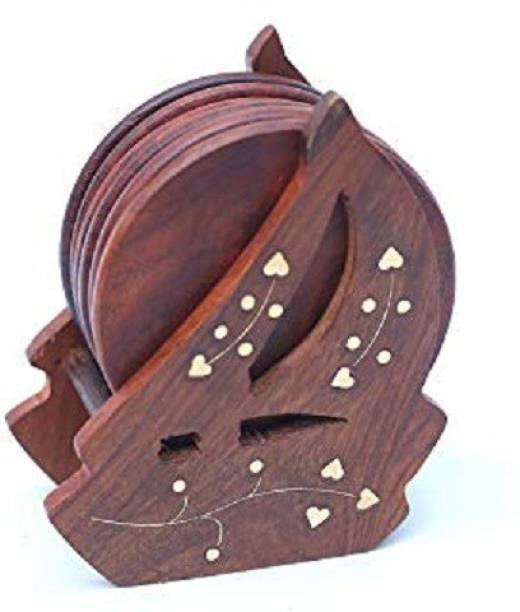 Amaze Shoppee Round Wood Coaster Set