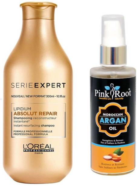 PINKROOT ARGAN OIL 100ML WITH LOREAL SERIE EXPERT ABSOLUTE REPAIR SHAMPOO