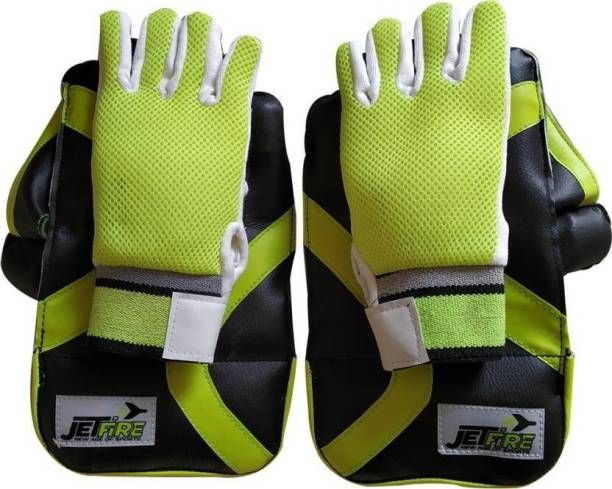 JetFire Youth Wicket Keeping Gloves Combo Green With Inner Gloves Age Group- (8-13 Years) Wicket Keeping Gloves