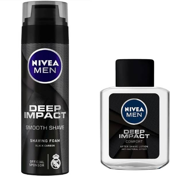 NIVEA Deep Impact Smooth Shave Shaving Foam (200 ml) & After Shave Lotion (100 ml)