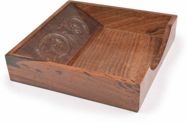 WoodCart 1 Compartments Rosewood Wooden Tissue Paper Rack/ Napkin Holder Stand Square Handmade Flower Carved Rosewood 7.5 * 7.5 inch