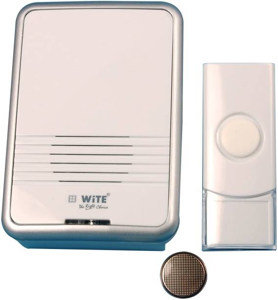 WiTE The Right Choice - LINO Wireless Remote Door Bell - 36 In 1 Polyphonic Tunes Wireless Calling Bell with L.E.D Indicator & Remote Stand - White Color - Glossy Finish - Plastic - 1 Piece Wireless Door Chime
