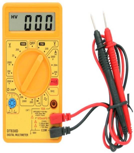 Divinext New Arrival with Buzzer & Improved Sensitivity Yellow Colour Digital Multimeter DT830D 3 ½ Digits LCD Display Hao Yue Unity Haoyue DT830D for Measuring AC Current, AC/DC Voltage Electric Testing Meter Digital Voltage Tester