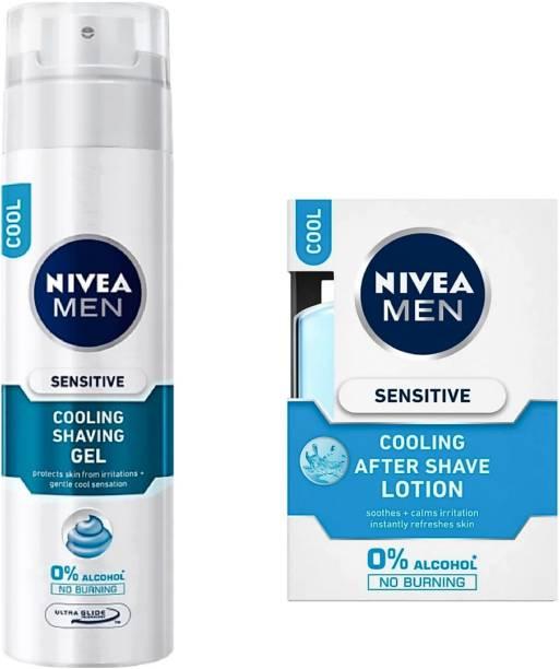 NIVEA Sensitive Cooling Shaving Gel (200 ml) & After Shave Lotion (100 ml)