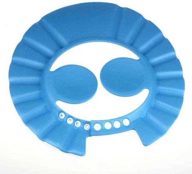 Ole Baby Safe Soft Shower Bathing Protect Adjustable Button Closure Cap Hat Blue