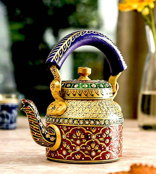 Craft Junction HandPainted Traditional Colourfull Decorative Tea Kettle Decorative Showpiece  -  21 cm