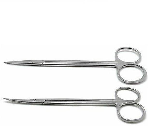 """momento Kelly Scissor Straight and Curved 7"""" Sharp/Sharp Dental Surgical Medical ENT 2 Pcs Instruments Strong Cut Scissors"""