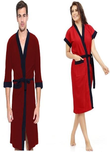 ELEVANTO Red & blue Free Size Bath Robe